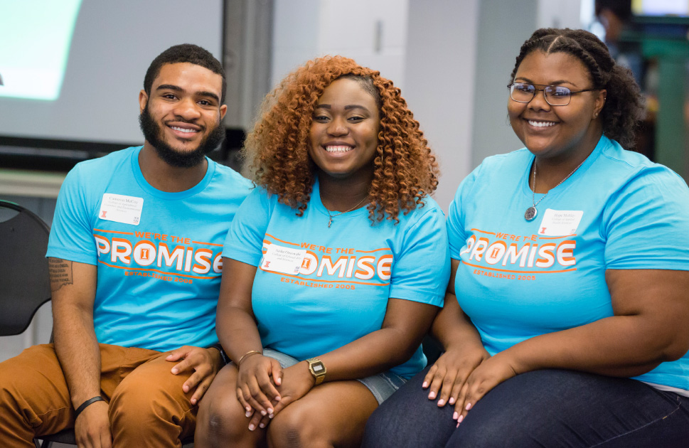 students wearing illinois promise shirts